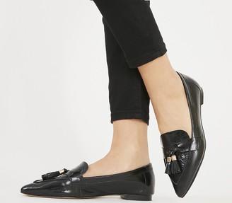 Office Fib Pointed Tassel Loafers Black Leather