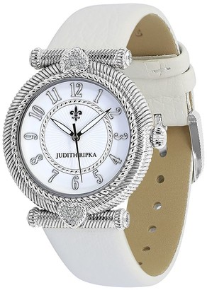 Judith Ripka Stainless Steel Parisian Leather Strap Watch