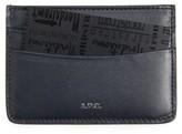 A.P.C. Men's Calfskin Leather Card Case - Blue
