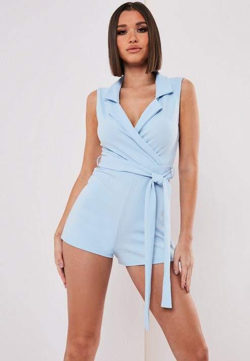 Missguided Blue Sleeveless Tie Waist Romper