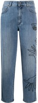 Moschino cornley embroidered cropped jeans