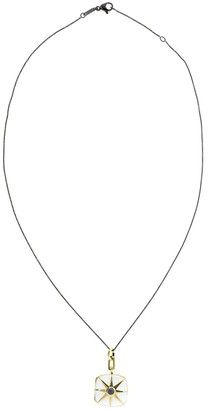 Monica Rich Kosann 18kt gold vermeil sapphire enamel Cushion locket