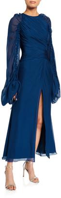 Flor Et. Al Monclova Gathered Satin Gown with Front Slit