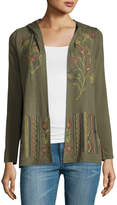 Neiman Marcus Open-Front Embroidered Cardigan