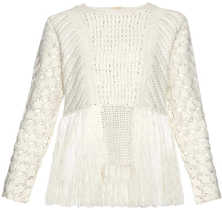 ADAM by Adam Lippes Fringed crochet-panel sweater