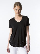 Monrow Linen V-Neck with Distressed Border