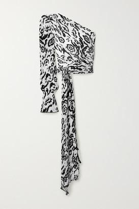 Self-Portrait Self Portrait One-sleeve Tie-detailed Leopard-print Plisse-chiffon Top - White