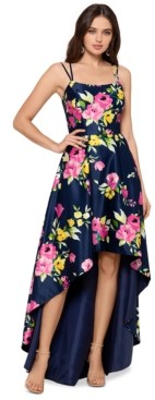 Xscape Evenings Floral-Print High-Low Ball Gown