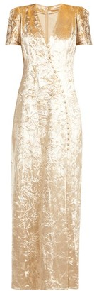 Brock Collection Doreen Crushed-velvet Dress - Womens - Cream