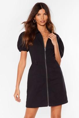 Nasty Gal Womens Zip It Puff Sleeve Mini Dress - Washed Black