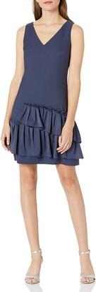 Eliza J Women's V-Neck Dress Pleated Hem (Regular & Petite)