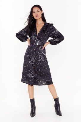 Nasty Gal Womens Piping Dot Button-Down Midi Dress - Black - 4