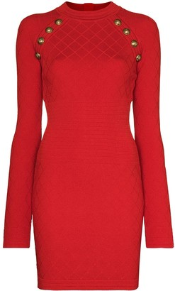 Balmain Fitted Knitted Mini Dress