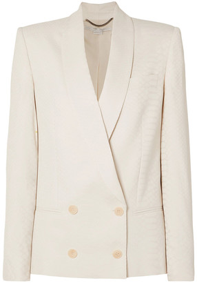 Stella McCartney Double-breasted Croc-effect Satin-jacquard Blazer