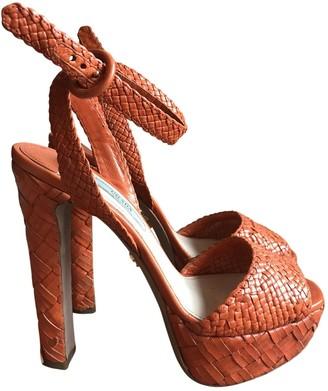 Prada Orange Leather Sandals