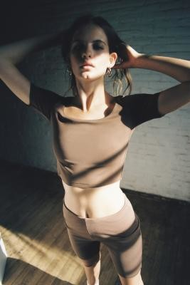 Out From Under Bristol Boatneck Cropped Top - Brown XS at Urban Outfitters