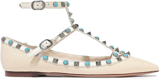 Valentino Rockstud Rolling Pebbled-leather Point-toe Flats