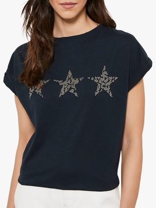 Mint Velvet Studded Star T-Shirt, Dark Blue