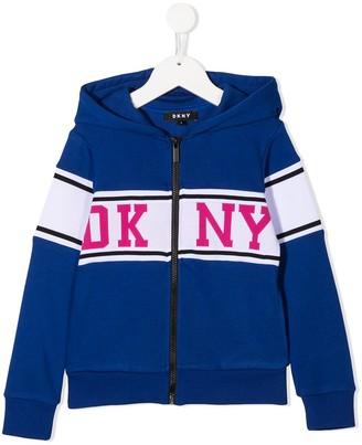 DKNY Logo-Print Zip-Up Hoodie