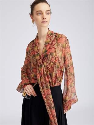 Oscar de la Renta Art Deco Floral Silk-Chiffon Blouse
