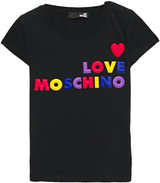 Love Moschino Embroidered Cotton-jersey T-shirt