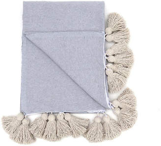 One Kings Lane Vintage Gray Cotton Tassel Blanket - King - Habibi Imports