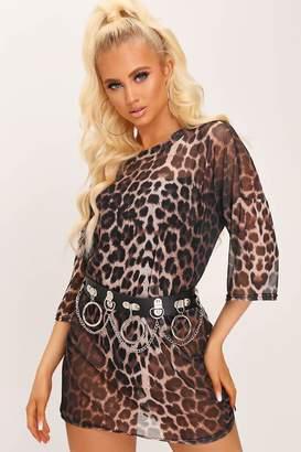 I SAW IT FIRST Brown Leopard Print Mesh T-Shirt Dress