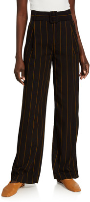 Vince Belted Wide-Leg Stripe Pants