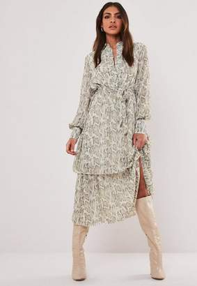 Missguided Stone Snake Print Midi Shirt Dress