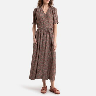 La Redoute Collections Wrapover Midaxi Dress in Floral Print with Short Sleeves