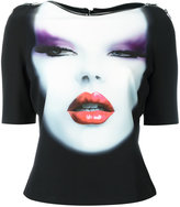 Jeremy Scott face print zip trim cropped T-shirt