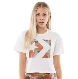 Converse Womens Star Chevron Rose Camo Easy Crop T-Shirt White
