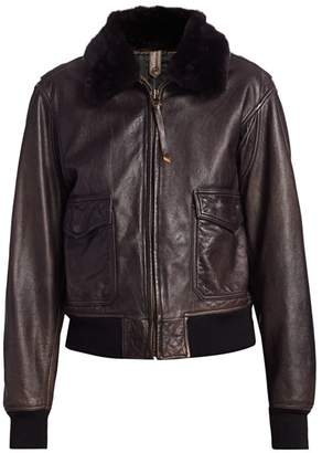 RE/DONE 40s Flight Faux-Shearling Collar Leather Jacket