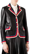 Gucci Embroidered Leather Jacket, Black