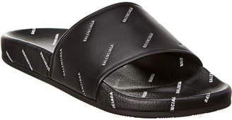 Balenciaga Leather Logo Pool Slide