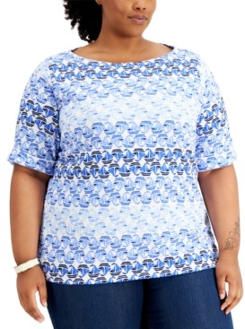 Karen Scott Plus Size Abstract-Print Top, Created for Macy's