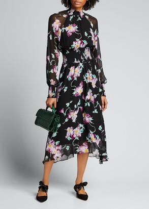 A.L.C. Casey Floral High-Neck Midi Dress