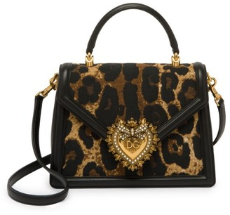 Dolce & Gabbana Devotion Leopard-Print Top Handle Bag