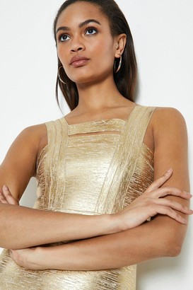 Coast Sleeveless Metallic Bandage Knit Dress