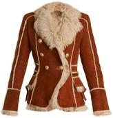 Balmain Oversized-lapel shearling jacket