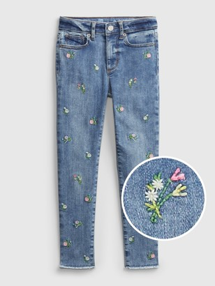 Gap Kids High-Rise Skinny Ankle Embroidered Floral Jeggings with Max Stretch