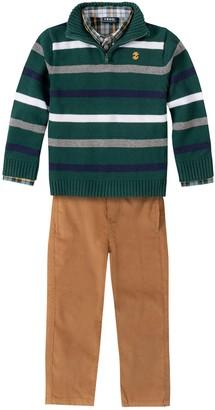 Izod Toddler Boy 3 Piece Striped Sweater, Plaid Shirt & Pants Set