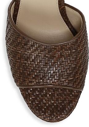 Veronica Beard Dali Woven Leather Platform Wedge Mules