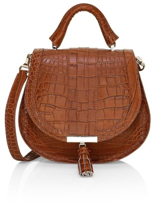 DeMellier Mini Venice Croc-Embossed Leather Saddle Bag