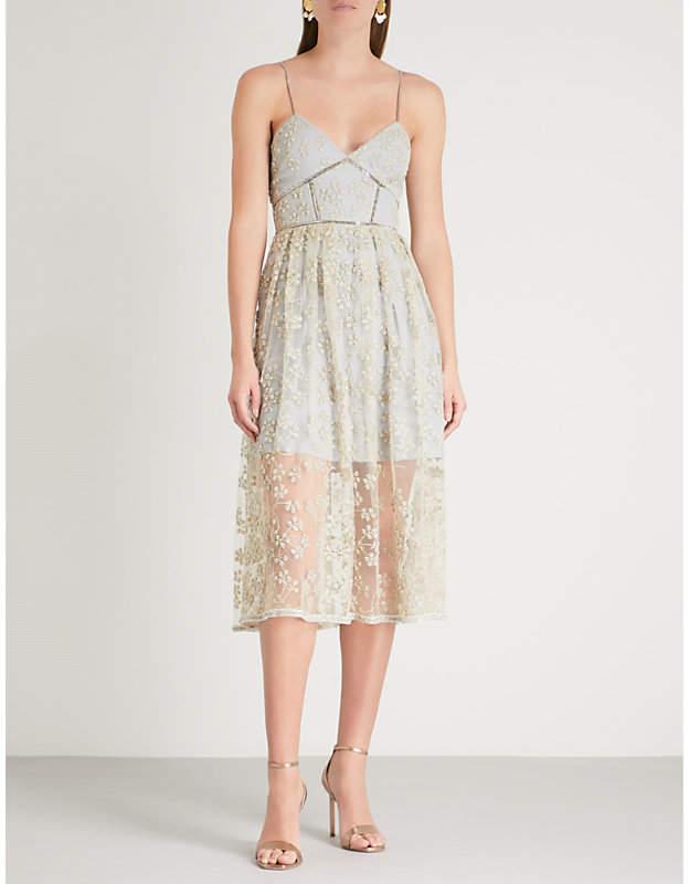 Self-Portrait Floral-embroidered mesh midi dress