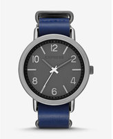 Express blue leather strap watch