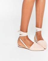 Asos LIFE OF THE PARTY Lace Up Pointed Ballet Flats