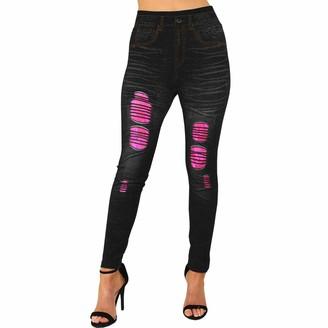 Xpose Ladies Denim Look Knee Cut Ripped Contrast Lace Insert Skinny Fit Leggings Jeggings Dark Blue Light Blue Black Pink Yellow 810 12 14 (Black/Pink Lace S/M)
