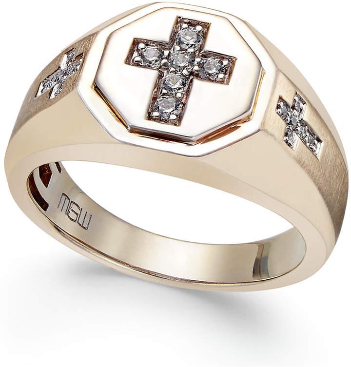 Macy's Men's Diamond Cross Ring (1/5 ct. t.w.) in 10k Gold