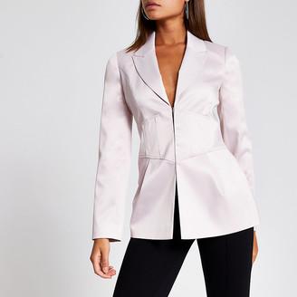 River Island Pink corset waist long sleeve satin blazer